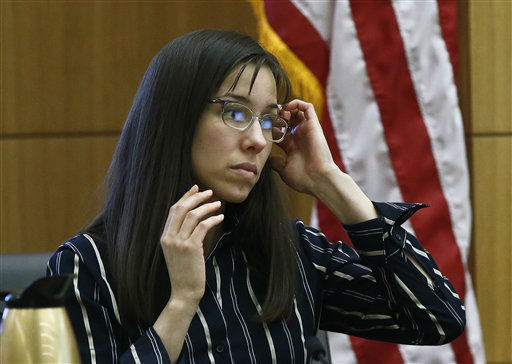 "<div class=""meta ""><span class=""caption-text "">Jodi Arias pauses before answering a question from the witness stand in Maricopa County Superior Court, Wednesday, Feb. 13, 2013, in Phoenix.  (AP Photo/ Ross D. Franklin)</span></div>"