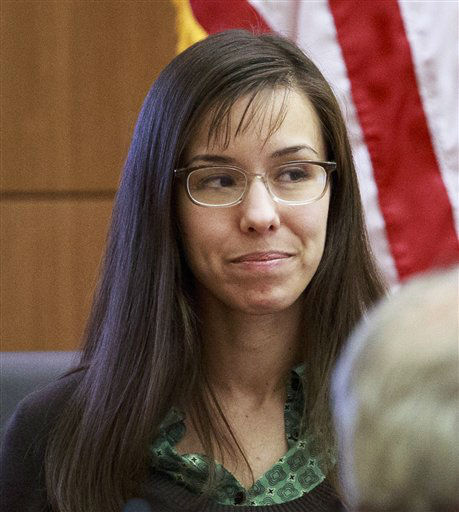In this Wednesday, Feb. 6, 2013 photo, defendant Jodi Arias talks about the early months of her relationship with Travis Alexander, as she testifies in her murder trial in Phoenix. <span class=meta>(AP Photo&#47; Charlie Leight)</span>