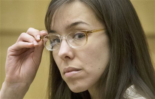 "<div class=""meta image-caption""><div class=""origin-logo origin-image ""><span></span></div><span class=""caption-text"">Defendant Jodi Arias sits in the courtroom during her trial at Maricopa County Superior Court in Phoenix on Wednesday, May 1, 2013.   (AP Photo/ Mark Henle)</span></div>"