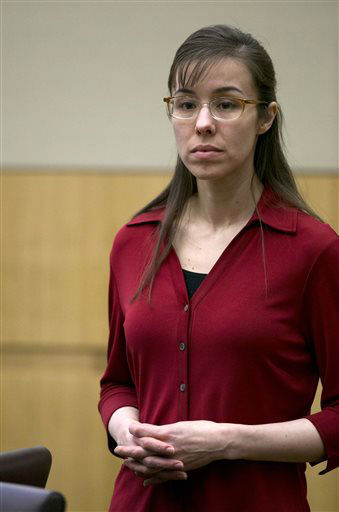 "<div class=""meta ""><span class=""caption-text "">Jodi Arias stands and looks as the jury is excused for a lunch break during her trial at Maricopa County Superior Court in Phoenix on Thursday, April 4, 2013.  (AP Photo/ David Wallace)</span></div>"