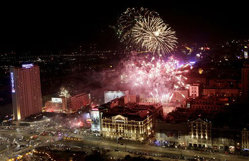 Fireworks explode in the sky during the New Year&#39;s celebrations in Warsaw, Poland, Tuesday, Jan. 1, 2013.  <span class=meta>(AP Photo&#47; Czarek Sokolowski)</span>