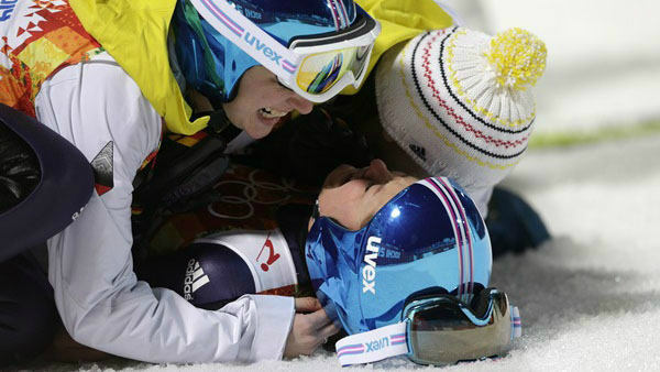 7. You could pile up with your teammates...  Germany&#39;s Carina Vogt and her teammates after winning the gold during the women&#39;s normal hill ski jumping  <span class=meta>(Photo&#47;Matthias Schrader)</span>