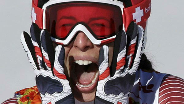 "<div class=""meta ""><span class=""caption-text "">6. Why not scream? Especially if you pulled off a tie  Switzerland's Dominique Gisin after tying for gold in the women's downhill  (Photo/Gero Breloer)</span></div>"