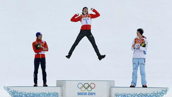 13. Then there&#39;s the popular podium jump. Germany&#39;s Eric Frenzel after the cross-country portion of the nordic combined   <span class=meta>(Photo&#47;Matthias Schrader)</span>