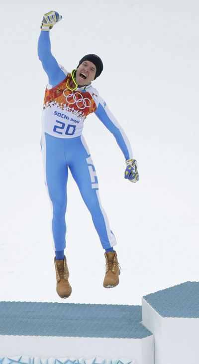 13. Then there&#39;s the popular podium jump.  Italy&#39;s Christof Innerhofer after his second place finish during the mens&#39;s downhil  <span class=meta>(Photo&#47;Charlie Riedel)</span>