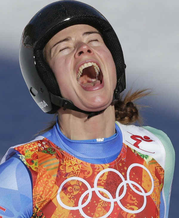 6. Why not scream? Especially if you pulled off a tie  Slovenia&#39;s Tina Maze after tying for gold in the women&#39;s downhill  <span class=meta>(Photo&#47;Gero Breloer)</span>