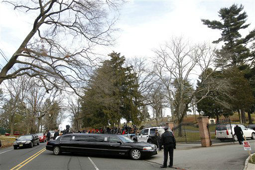 A long line of limos follow the hearse carrying the body of Whitney Houston arrives at Fairview Cemetery for her burial in Westfield, N.J., Sunday, Feb. 19, 2012.  <span class=meta>(AP Photo&#47; Rich Schultz)</span>