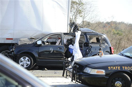 A small passenger vehicle sits lodged beneath a semitrailer after a multi-vehicle accident on Interstate 75 near Gainesville, Fla., Sunday, Jan. 29, 2012.  <span class=meta>(AP Photo&#47; Phil Sandlin)</span>