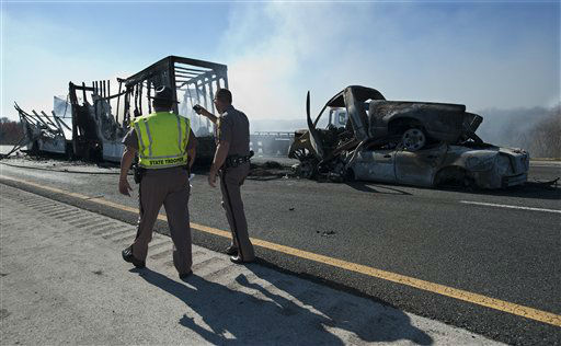 "<div class=""meta ""><span class=""caption-text "">Florida Highway Patrolmen inspect the damage from a multi-vehicle accident on Interstate 75 near Gainesville, Fla., Sunday, Jan. 29, 2012.  (AP Photo/ Phil Sandlin)</span></div>"