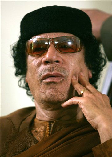 "<div class=""meta ""><span class=""caption-text "">This Friday, March 2, 2007 file photo shows Libya's Moammar Gadhafi  in Sabha, Libya Friday, March 2, 2007.  (Photo/Nasser Nasser)</span></div>"
