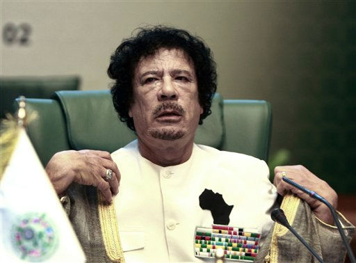 "<div class=""meta ""><span class=""caption-text "">Libyan leader Moammar Gadhafi chairs the Arab summit in Sirte, Libya, Saturday, Oct. 9, 2010.  (AP Photo/ Amr Nabil)</span></div>"