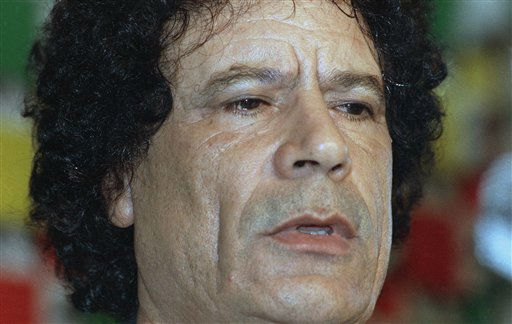 "<div class=""meta ""><span class=""caption-text "">Libyan leader, Moammar Gadhafi at news conference in Tripoli  August 21, 1990.  (AP Photo/ Axel Schulz-Eppers)</span></div>"