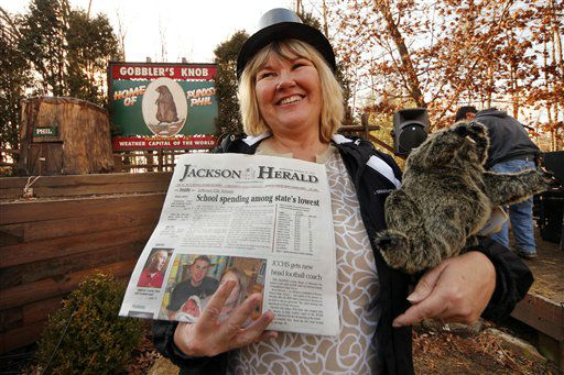 Runelle Pursley of Jefferson, Ga., stands at Gobbler&#39;s Knob on Groundhog eve, Feb. 1, 2012, after driving more than 700 miles to spend Groundhog day with weather forecasting groundhog Punxsutawney Phil in Punxstawney, Pa.  <span class=meta>(AP Photo&#47; Gene J. Puskar)</span>