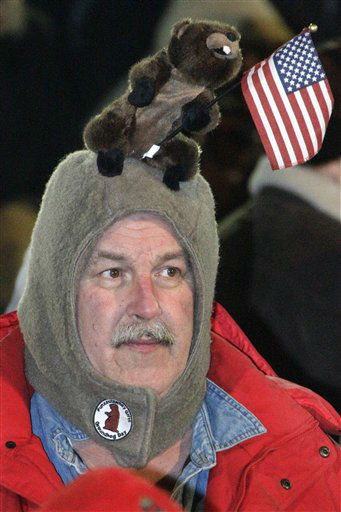 Al Donst, of Belvidere, NJ., waits in the early morning of Feb. 2, 2012 on Gobbler&#39;s Knob for weather prognosticating groundhog Punxsutawney Phil to appear, during the 126th celebration of Groundhog Day in Punxsutawney, Pa.  <span class=meta>(AP Photo&#47; Gene J. Puskar)</span>