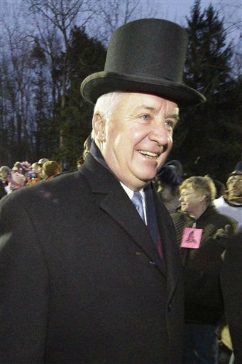 "<div class=""meta ""><span class=""caption-text "">Pennsylvania Governor Tom Corbett arrives on Gobbler's Knob during the 126th celebration of Groundhog Day on Thursday, Feb. 2, 2012. Weather prognosticating groundhog Punxsutawney Phil saw his shadow, forecasting six more weeks of winter weather.  (AP Photo/ Gene J. Puskar)</span></div>"