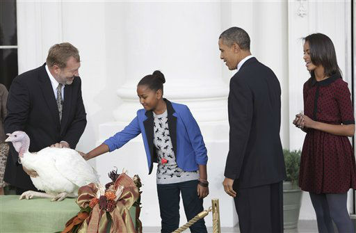 President Barack Obama stands with daughter Malia as Sasha pets Liberty, a 19-week old, 45-pound turkey, on the occasion of Thanksgiving, Wednesday, Nov. 23, 2011,  on the North Portico of  the White House in Washington. At left is National Turkey Federation Chairman Richard Huisinga.  <span class=meta>(AP Photo&#47; Lauren Rock)</span>