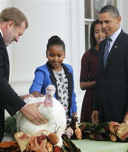 President Barack Obama stands with daughters Sasha and Malia after pardoning Liberty, a 19-week old, 45-pound turkey, on the occasion of Thanksgiving, Wednesday, Nov. 23, 2011, on the North Portico of  the White House in Washington. National Turkey Federation Chairman Rick Huisinga, left, holds on to Liberty.  <span class=meta>(AP Photo&#47; Pablo Martinez Monsivais)</span>