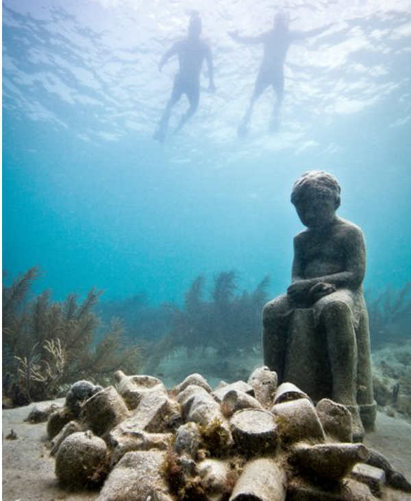 "<div class=""meta image-caption""><div class=""origin-logo origin-image ""><span></span></div><span class=""caption-text"">Jason deCaires Taylor combined 18 years of diving experience and a background in the arts to create a mesmerizing underwater sculpture garden off the coast of Grenada in the West Indies. The park, founded in 2006,is meant to show that human intervention can be ""both positive and life-encouraging."" These permanent public works serve as both an art installation and a habitat for sea creatures. Each sculpture has an oblique but thoughtful name meant to symbolize the relationship between man and nature. Sculpture pictured here: Inheritance. (Jason deCaires Taylor/www.jasondecairestaylor.com)</span></div>"