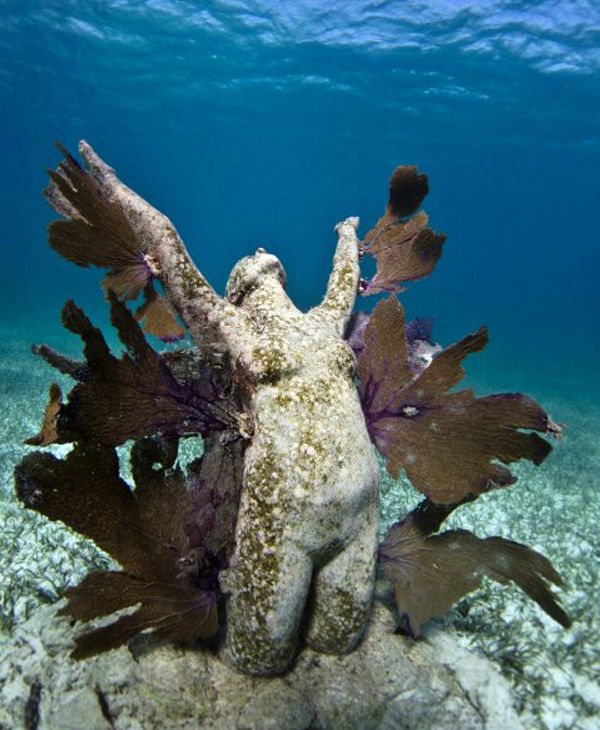 "<div class=""meta image-caption""><div class=""origin-logo origin-image ""><span></span></div><span class=""caption-text"">Jason deCaires Taylor combined 18 years of diving experience and a background in the arts to create a mesmerizing underwater sculpture garden off the coast of Grenada in the West Indies. The park, founded in 2006,is meant to show that human intervention can be ""both positive and life-encouraging."" These permanent public works serve as both an art installation and a habitat for sea creatures. Each sculpture has an oblique but thoughtful name meant to symbolize the relationship between man and nature. Sculpture pictured here: Reclamation. (Jason deCaires Taylor/www.jasondecairestaylor.com)</span></div>"