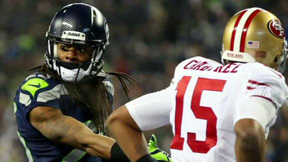 "<div class=""meta ""><span class=""caption-text ""> Who is this Richard Sherman guy I keep hearing about? In the play that won their most recent game, Seahawks player Richard Sherman tipped a pass intended for 49ers player Michael Crabtree. When Sherman tried to shake hands with Crabtree, Crabtree shoved him. Sherman made a choking gesture that he said was directed at the 49ers quarterback. Soon after, Sherman gave a spirited sideline interview talking himself up and calling Crabtree a ""sorry receiver."" People around the internet chimed in with opinions about the interview, debating whether Sherman's comments were called for and whether he was caught up in the moment or just trying to get attention. The NFL fined him nearly $8,000 for taunting. (ABC News)</span></div>"