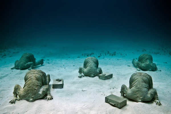 "<div class=""meta image-caption""><div class=""origin-logo origin-image ""><span></span></div><span class=""caption-text"">Jason deCaires Taylor combined 18 years of diving experience and a background in the arts to create a mesmerizing underwater sculpture garden off the coast of Grenada in the West Indies. The park, founded in 2006,is meant to show that human intervention can be ""both positive and life-encouraging."" These permanent public works serve as both an art installation and a habitat for sea creatures. Each sculpture has an oblique but thoughtful name meant to symbolize the relationship between man and nature. Sculpture pictured here: The Banker.</span></div>"