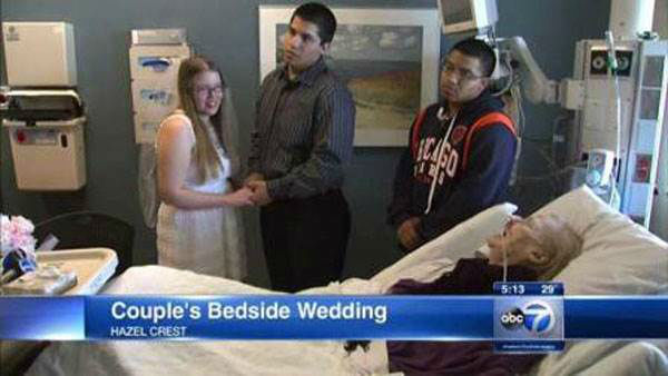 "<div class=""meta image-caption""><div class=""origin-logo origin-image ""><span></span></div><span class=""caption-text"">Kevin Falcon and Anita Ziolkowski didn't want the bride's ailing grandmother to miss their wedding, so they decided to hold a small ceremony right at her hospital bedside. Family is important, and they wanted everyone to be a part of their big day no matter what.   Next up: The couple married longer than most of us will live (Photo/WLS)</span></div>"