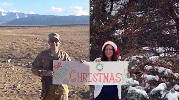 Sgt. Daniel Purdue is on the left. His wife Christina is on the right. He&#39;s in Afghanistan; she&#39;s in Westchester County, New York. Christina wanted to carry on their annual Christmas card tradition even though they&#39;re 7,000 miles apart. The result quickly went viral.  Next up: Big heart, little tutu <span class=meta>(Photo&#47;WABC)</span>