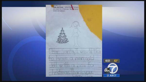 "<div class=""meta image-caption""><div class=""origin-logo origin-image ""><span></span></div><span class=""caption-text"">When a kindergartner sent a wish list to Santa on a red balloon, she probably didn't expect it to be answered by a guy named Terry. Terry Hardin was on his way home from work when he saw the red balloon descend slowly towards him. A note attached read, ""Dear Santa, I would like to have a mermaid doll with a bow for Christmas. Thank you. Love, Joie."" With the help of Facebook. Hardin was able to track down Joie and her kindergarten class, and get her the gift she wanted.  Next up: The Pizza Hut surprise (KABC)</span></div>"