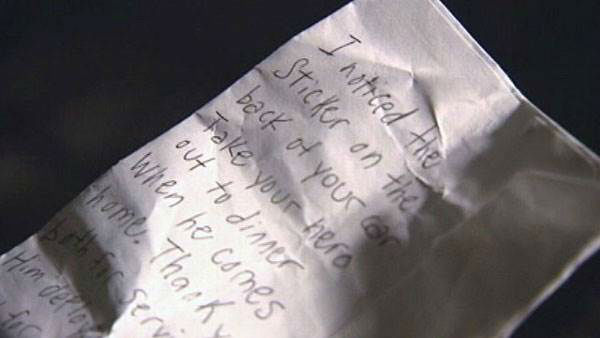 "<div class=""meta ""><span class=""caption-text "">The girlfriend of a soldier deployed in Afghanistan walked out to her car after a routine Dunkin' Donuts run to find a warm surprise tucked under her windshield wiper. It was a note with $40 enclosed that read, ""Take your hero out to dinner when he comes home. Thank you both for serving.""  Next up: A 22nd birthday like no other (Photo/Good Morning America)</span></div>"