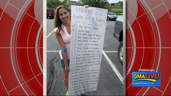 "<div class=""meta image-caption""><div class=""origin-logo origin-image ""><span></span></div><span class=""caption-text"">Instead of partying on her 22nd birthday, nursing student Hillary Sadlon decided to complete 22 random acts of kindness. She left inspirational notes on cars, donated blood and even drove through five cities to complete the last eight tasks left on her list. Sadlon said it was the best birthday she ever had.  Feeling inspired to spread the love? Go out and make a stranger's day - and maybe you'll end up on next year's list.  (Photo/Good Morning America)</span></div>"