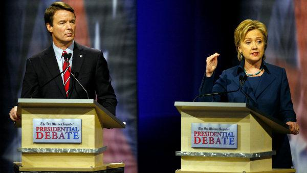 John Edwards and Hillary Clinton debate photo.