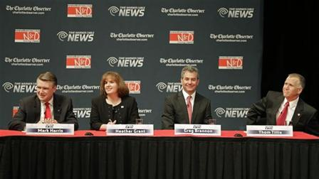 Republican senatorial candidates, from left, Mark Harris, Heather Grant, Greg Brannon, and Thom Tillis, before a debate at Davidson College in Davidson, N.C., Tuesday, April 22, 2014.