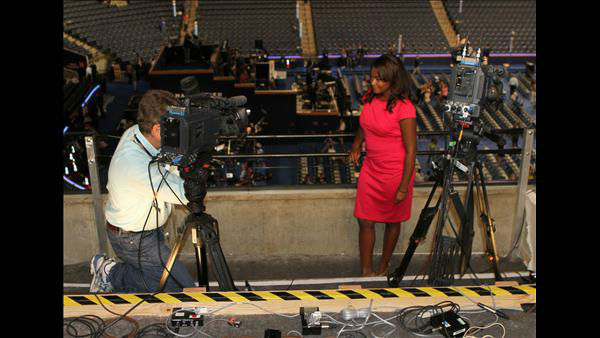 ABC11 Promotions Producer Chuck McDaniel and Reporter Tamara Gibbs at the DNC <span class=meta>(ABC11 Photojournalist Jim Schumacher)</span>