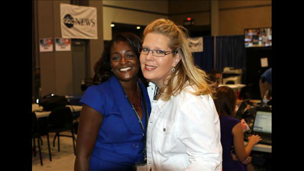 ABC11 Reporter Tamara Gibbs and News Operations Manager Elizabeth Plyler at the DNC <span class=meta>(ABC11 Photojournalist Jim Schumacher)</span>
