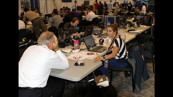 ABC11 Photojournalist Shawn Replogle, Anchor Larry Stogner, and Executive Producer Lori Denberg behind the scenes at the DNC <span class=meta>(ABC11 Photojournalist Jim Schumacher)</span>