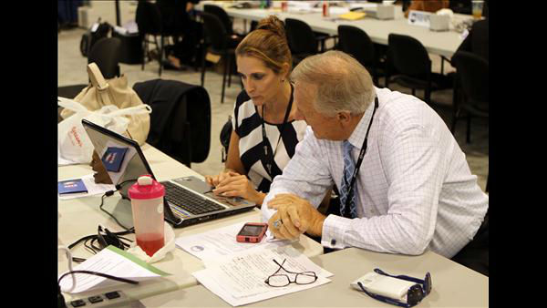 ABC11 Anchor Larry Stogner and Executive Producer Lori Denberg behind the scenes at the DNC <span class=meta>(ABC11 Photojournalist Jim Schumacher)</span>