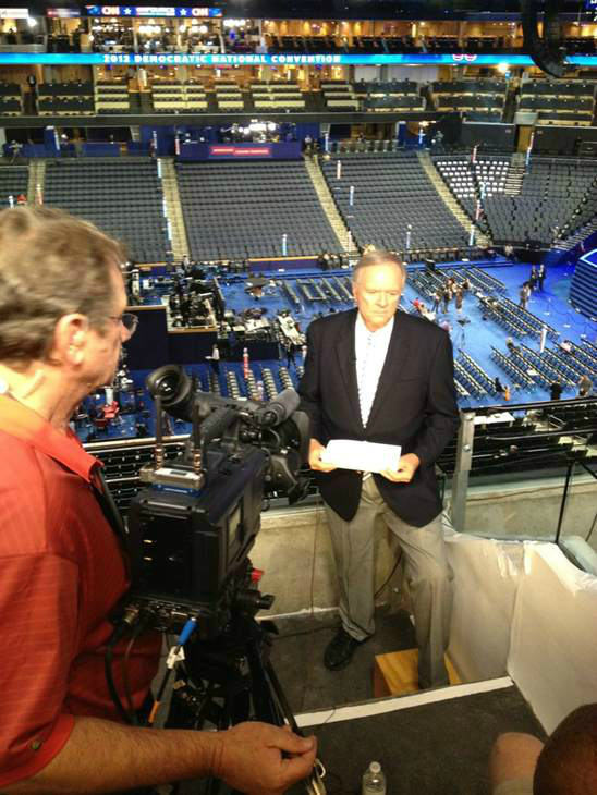 Getting ready to go live above the floor of the DNC. <span class=meta>(WTVD Photo)</span>