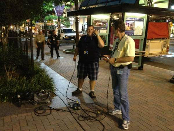 The ABC11 production team testing the equipment before a live shot. <span class=meta>(WTVD Photo)</span>