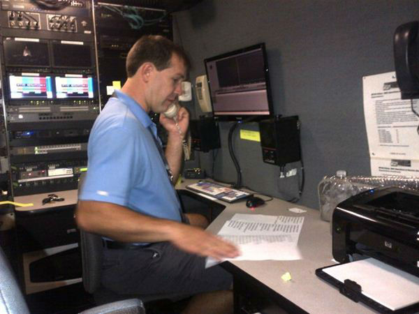 ABC11&#39;s Jim Schumacher looks over a script before he starts to edit video. <span class=meta>(WTVD Photo)</span>