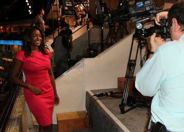 Tamara Gibbs strikes a pose in the skybox. <span class=meta>(WTVD Photo)</span>
