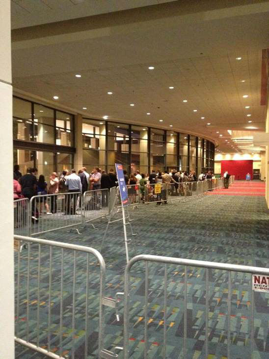 The line during the arena lockout. <span class=meta>(WTVD Photo)</span>