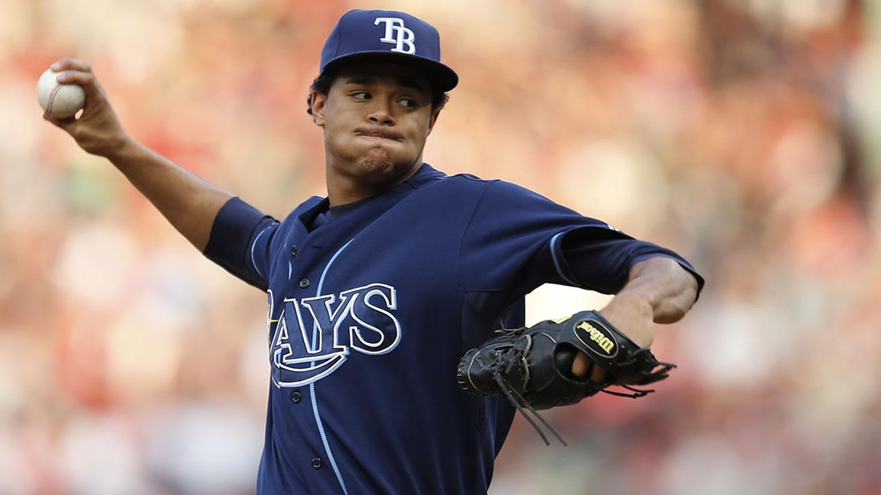 Tampa Bay Rays relief pitcher Chris Archer delivers in the fifth inning in Game 1 of baseballs American League division series against the Boston Red Sox, Friday, Oct. 4, 2013, in Boston. The Red Sox won 12-2.