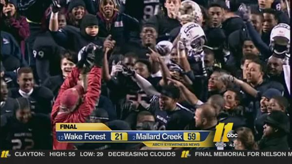 Mallard Creek beats Wake 59-21 for 1st 4-AA title