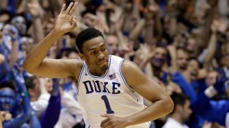 Jabari Parker reacts during Duke-UNC game