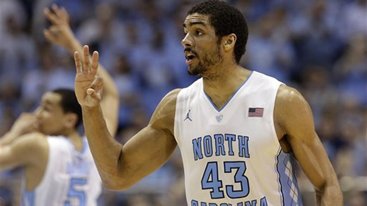 North Carolinas James Michael McAdoo (43) reacts following a basket against Duke during the second half of an NCAA college basketball game in Chapel Hill, N.C., Thursday, Feb. 20, 2014. North Carolina won 74-66.