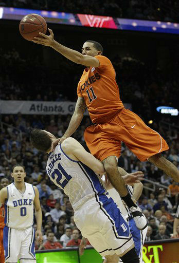 "<div class=""meta image-caption""><div class=""origin-logo origin-image ""><span></span></div><span class=""caption-text"">Virginia Tech guard Erick Green (11) looses the ball as Duke forward Miles Plumlee (21) defends during the first half of an NCAA college basketball game in the quarterfinals of the Atlantic Coast Conference tournament, Friday, March 9, 2012, in Atlanta. (AP Photo/ Chuck Burton)</span></div>"