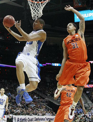 Duke guard Andre Dawkins &#40;20&#41; heads to the hoop as Virginia Tech forward Jarell Eddie &#40;31&#41; defends during the first half of an NCAA college basketball game in the quarterfinals of the Atlantic Coast Conference tournament, Friday, March 9, 2012, in Atlanta.  <span class=meta>(AP Photo&#47; John Bazemore)</span>