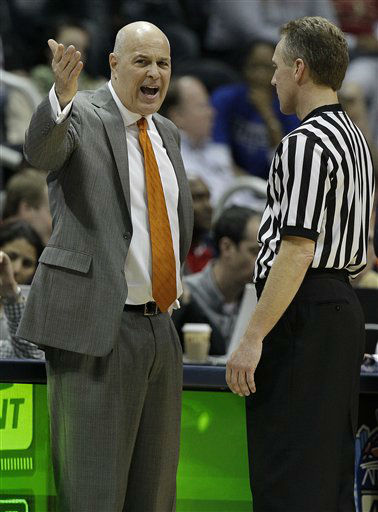 "<div class=""meta ""><span class=""caption-text "">Virginia Tech head coach Seth Greenberg speaks to an official during the first half of an NCAA college basketball game against the Virginia Tech in the quarterfinals of the Atlantic Coast Conference tournament, Friday, March 9, 2012, in Atlanta.  (AP Photo/ Chuck Burton)</span></div>"