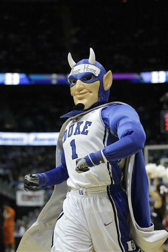 Duke&#39;s mascot performs during the first half of an NCAA college basketball game Virginia Tech in the quarterfinals of the Atlantic Coast Conference tournament, Friday, March 9, 2012, in Atlanta.  <span class=meta>(AP Photo&#47; Chuck Burton)</span>