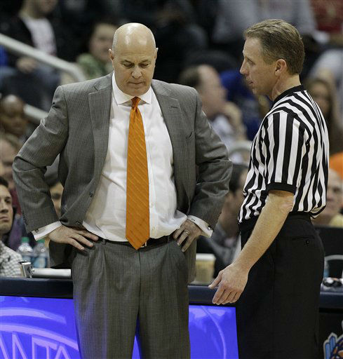 "<div class=""meta image-caption""><div class=""origin-logo origin-image ""><span></span></div><span class=""caption-text"">Virginia Tech head coach Seth Greenberg speaks to an official during the first half of an NCAA college basketball game against the Virginia Tech in the quarterfinals of the Atlantic Coast Conference tournament, Friday, March 9, 2012, in Atlanta.  (AP Photo/ Chuck Burton)</span></div>"